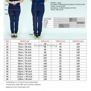 CY 24695 PLUS BIG SIZE WOMAN CASUAL COTTON LONG PANTS STRAIGHT CUT / SELUAR  COTTON SIZE BESAR PEREMPUAN DEWASA