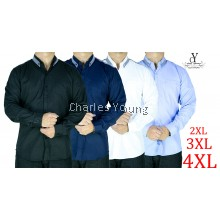 CY 8001 PLUS SIZE CASUAL MAN LONG SLEEVE OFFICE SHIRT SLIM FIT SKINNY DESIGN / KEMEJA OFFICE SIZE BESAR LENGAN PANJANG