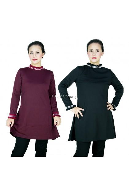 CY 6164 WOMAN PLUS SIZE BESAR MUSLIMAH BLOUSE SHIRT PEREMPUAN KOREA SPRING AUTUMN WEAR