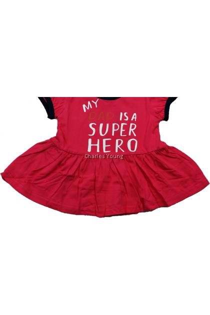 CY 118-2520 MY DAD IS SUPERHERO BABY GIRLS SUIT PASANG BUDAK PEREMPUAN BABY