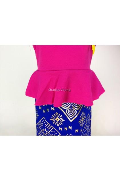 CY 204 GIRL DRESS SONGKET / GAUN SONGKET BDK PEREMPUAN S/S LENGAN PENDEK