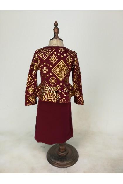 CY 1102 GIRL DRESS SONGKET / GAUN SONGKET BDK PEREMPUAN L/S LENGAN PANJANG