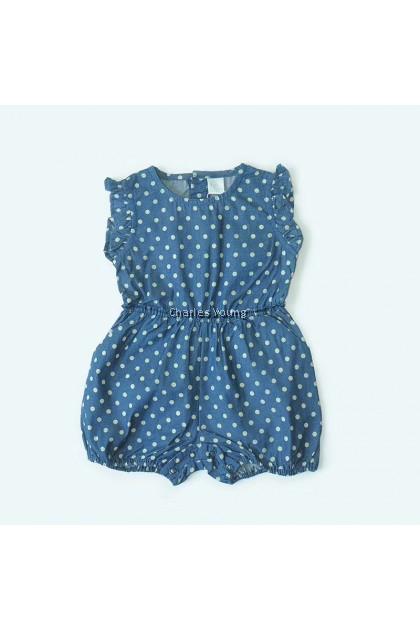 CY 154425 ROMPER BABY INBEBE GIRL SLEEVELESS JEAN FLORAL / DOTDOT
