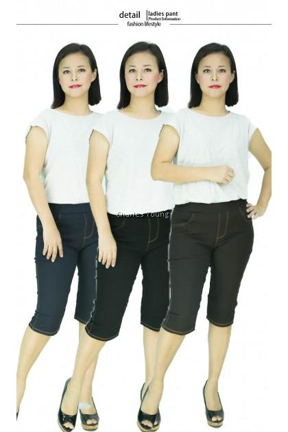 CY 701 PLUS SIZE WOMAN CASUAL STRECTAHBLE SHORT CROPPED PANTS BIG  SELUAR PANJANG SIZE BESAR  5XL 6XL 7XL LL