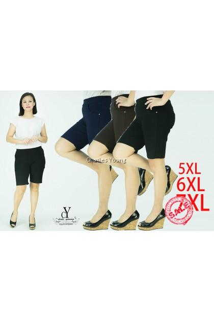 CY 511 PLUS SIZE WOMAN CASUAL STRECTAHBLE SHORT CROPPED PANTS BIG  SELUAR PANJANG SIZE BESAR  5XL 6XL 7XL LL