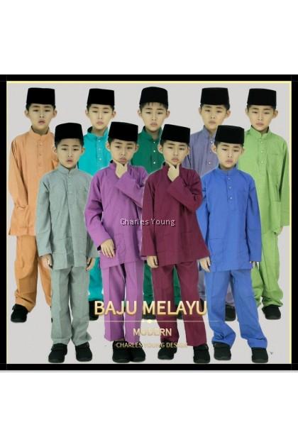 CY 2200 BAJU MELAYU DUAL TONE MUSLIM MUSLIMIN KIDS BUDAK BABY PUMPKIN ORANGE / MAROON / EMERALD GREEN / DUSTY PURPLE / YELLOW GREEN / INDIGO BLUE / JADE GREEN / DUSTY MAGENTA / STONE GREY