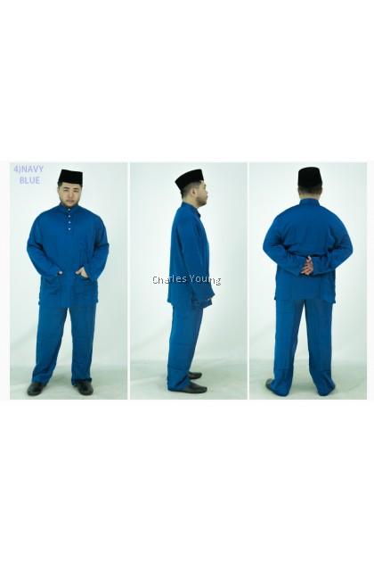CY 001A BAJU MELAYU MUSLIM DEWASA BLACK / DUSTY PINK / OLIVE GREEN / NAVY BLUE / CORNFLOWER BLUE