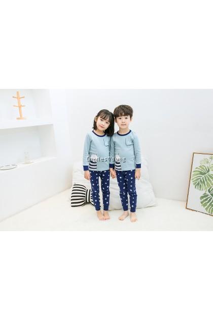 CY 162564 CHILDREN SUIT PASANG BUDAK PYJAMAS AIMEYA LIGHT BLUE 100-160