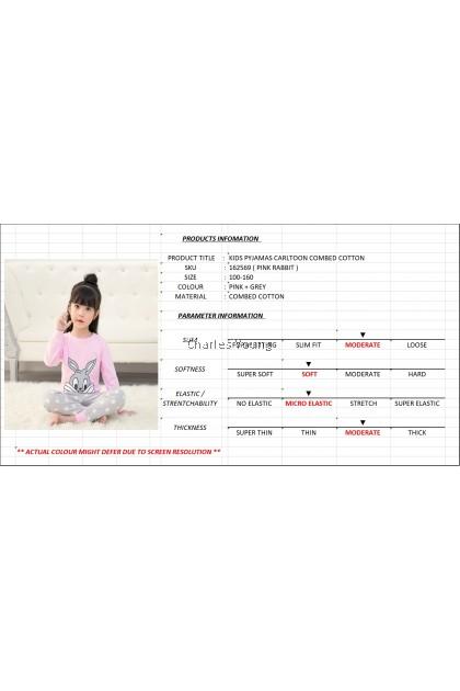 CY 162569 CHILDREN SUIT PASANG BUDAK PYJAMAS RABBIT PINK 100-160