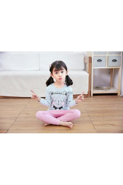 CY 162571 CHILDREN SUIT PASANG BUDAK PYJAMAS BEAUTY CAT 100-160