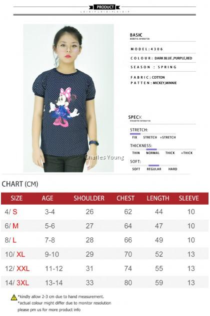 CY 4306 KOREA STYLE BLOUSE SHIRT KIDS CHILDREN / Shirt Budak Perempuan Mickey Minney