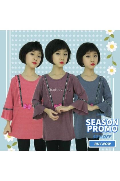 CY DS282 KOREA STYLE MUSLIMAH BLOUSE SHIRT KIDS CHILDREN / BLOUSE BUDAK PEREMPUAN BAJU KURUNG PEACH / MAROON / GREY