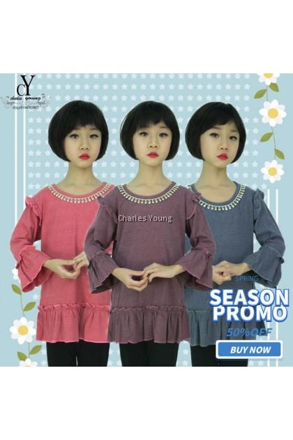 CY DS289 KOREA STYLE MUSLIMAH BLOUSE SHIRT KIDS CHILDREN / BLOUSE BUDAK PEREMPUAN BAJU KURUNG PEACH / MAROON / GREY