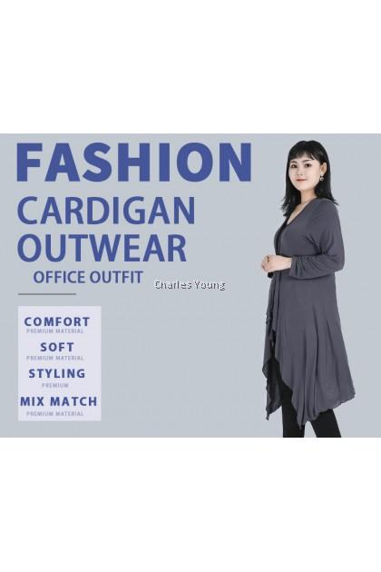 CY3690 Designer Cardigan Women Large Size  Open neck plus size Black Grey Long Sleeve Sweater Outerwear / CARDIGAN PEREMPUAN