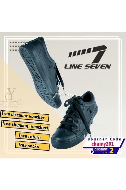 100% Original LINE 7 7976 Black Shoe | Kasut Sekolah LINE 7  Hitam / Kasut Sekolah Hitam