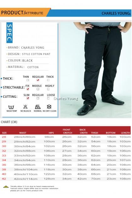 CY 800553 BLACK  PLUS SIZE MAN CASUAL LONG PANT  / SELUAR PANJANG SIZE BESAR / COTTON PANT