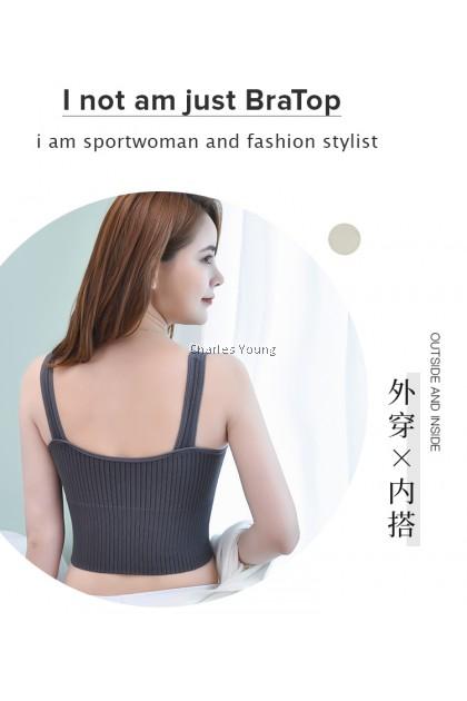 CY 881 High Quality Women Seamless Sport Underwear Gym Yoga Sports Wireless Bratop Bra Removable Pad Singlet / 无钢圈吊带女背心女
