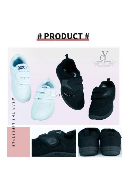 100% Original PALLAS 0165 Black Shoe | Kasut Sekolah PALLAS  Hitam  Putih / Pallas Jazz Single Velcro Strap /  PALLAS SHOE