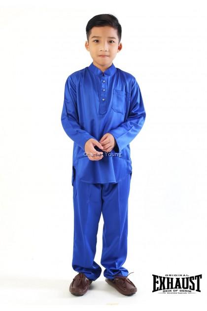 CY 839 SET FAMILY RAYA SEDONDON / BAJU MELAYU BUDAK DEWASA / BAJU KURUNG BUDAK DEWASA / BAJU MELAYU THEME ROYAL BLUE / BAJU KURUNG THEME ROYAL BLUE