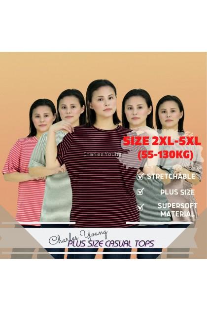 CY 4585 Plus Size Fitness Sports T-shirt Women Short Sleeve Moisture Stripe Athletic Shirts Top Ladies Top XXL 3XL 4XL 5XL / Shirt besar Perempuan 130 kg