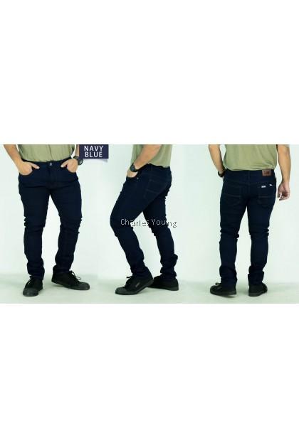 CY A6612 Men's Skinny Easy Slim Fit Flex Jean Business Casual Blue Black Denim Trousers / Seluar Jeans Lelaki Viral