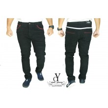 CY  2551 [ BLACK ] CASUAL KPOP SLIM KOREA PANTS SELUAR PLUS SIZE BESAR COTTON