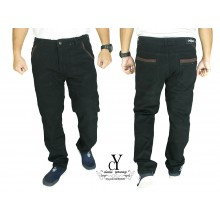 CY  2552 [ BLACK ] CASUAL KPOP SLIM KOREA PANTS SELUAR PLUS SIZE BESAR COTTON