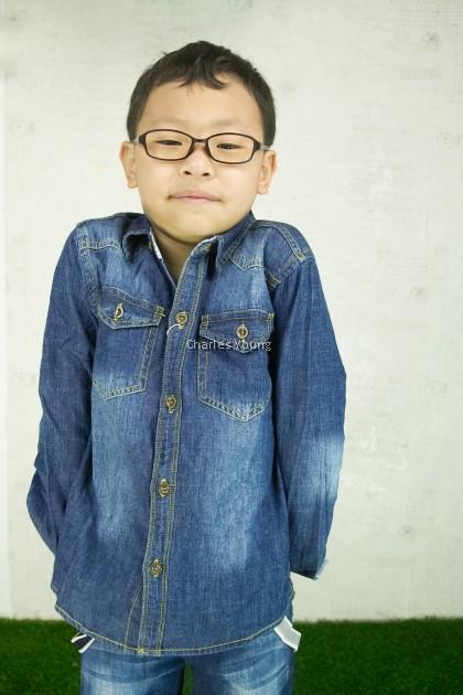CY 72164 DENIM  VINTAGE JEANS  LONG SLEEVE KID SHIRT