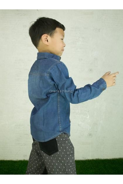 CY 7568a DENIM  VINTAGE JEANS  LONG SLEEVE KID SHIRT