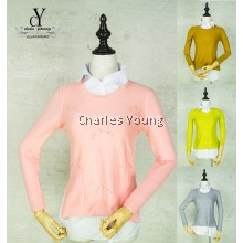 CY 401 LADY CASUAL SLIM LINE COLAR KNITTED WOOL BLOUSE SHIRT OFFICE WEAR