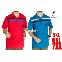 CY 15517 [ BLUE / RED ] MAN CASUAL POLO COLAR SHIRT BIG SIZE PLUS