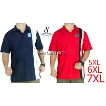 CY 342A [ RED / DARK BLUE ] MAN CASUAL POLO COLAR SHIRT BIG SIZE PLUS 7XL