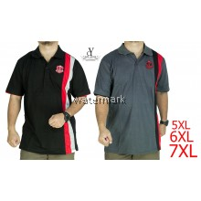 CY 342B [ BLACK / GREY ] MAN CASUAL POLO COLAR SHIRT BIG SIZE PLUS 7XL