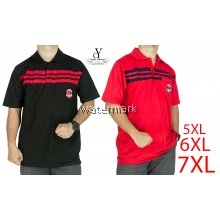 CY 22-7794 [ BLACK / RED ] MAN CASUAL POLO COLAR SHIRT BIG SIZE PLUS 7XL