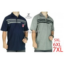 CY 22-7794 [ BLUE /GREY  ] MAN CASUAL POLO COLAR SHIRT BIG SIZE PLUS 7XL