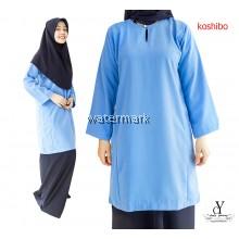 CY 2006 BAJU KURUNG MUSLIMAH  SEKOLAH KOSHIBO ( BAJU SAHAJA BIRU / BLUE )