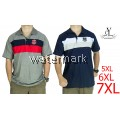 CY 64246 [DARK BLUE /GREY  ] MAN CASUAL POLO COLAR SHIRT BIG SIZE PLUS 7XL
