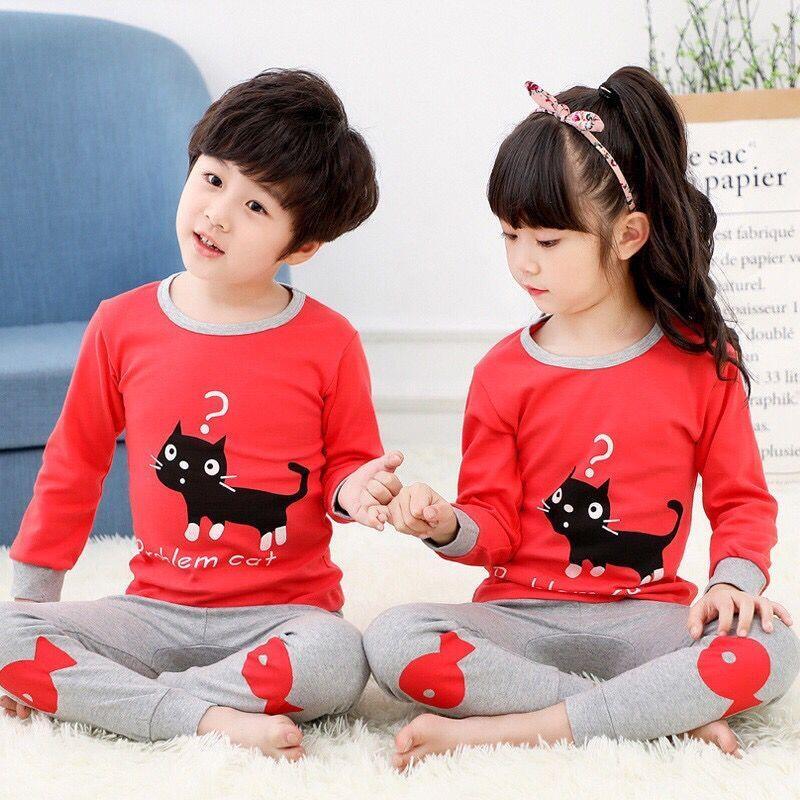 CY 160768 CHILDREN SUIT PASANG BUDAK PYJAMAS PROBLEM CAT