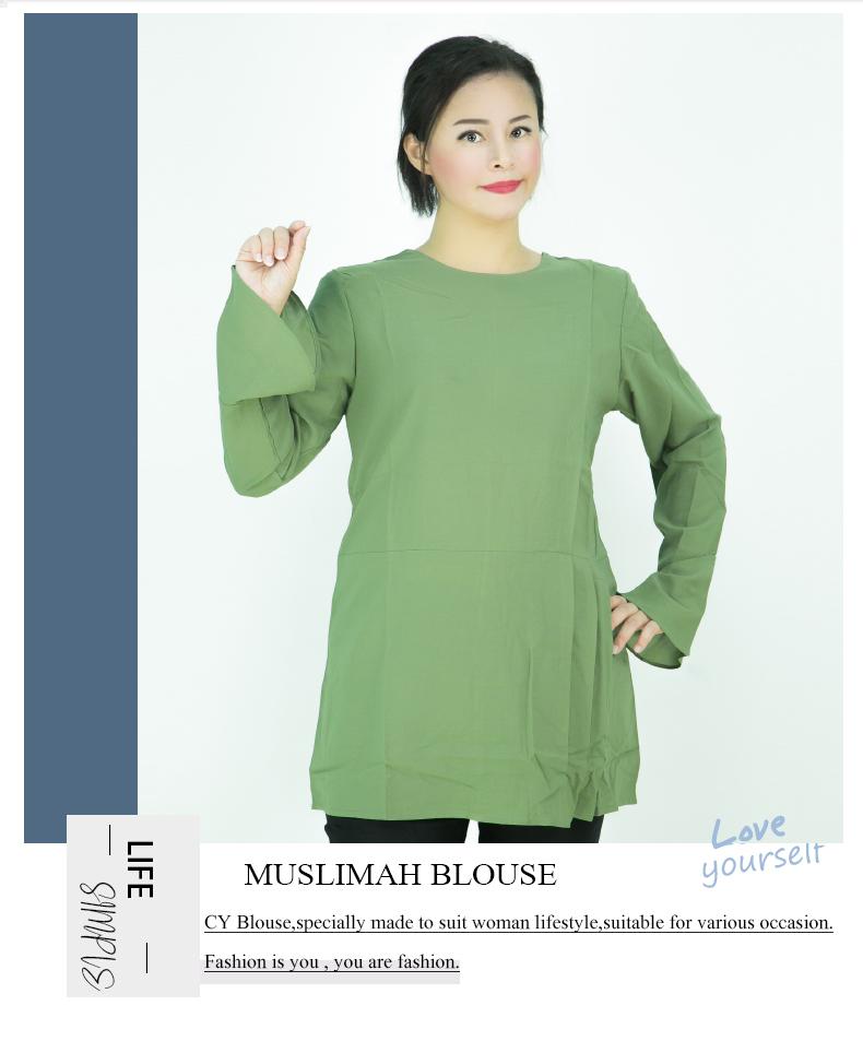 CY 20009 WOMAN PLUS SIZE MUSLIMAH BLOUSE SHIRT KOREA WEAR / MUSLIMAH BLOUSE SIZE BESAR / MAGENTA PURPLE / DUSTY GREEN