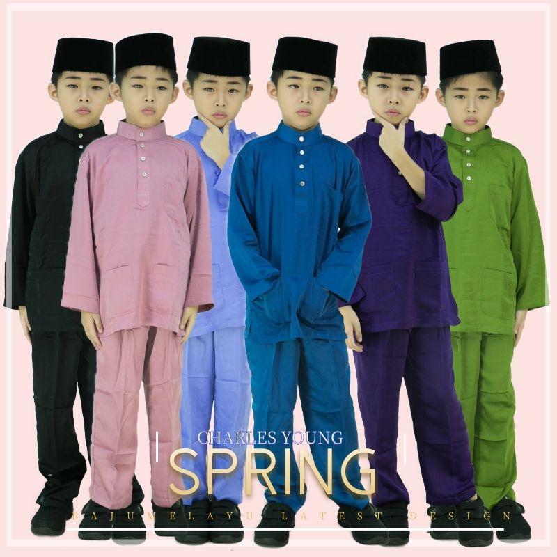 CY 001A BAJU MELAYU MUSLIM MUSLIMIN KIDS BUDAK BABY BLACK / DUSTY PINK / OLIVE GREEN / NAVY BLUE / DARK PURPLE / CORNFLOWER BLUE
