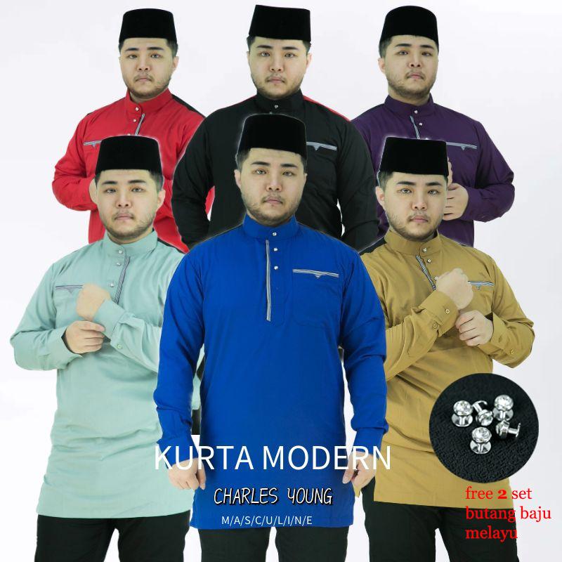 CY 7068 KURTA MODERN DEWASA BAJU MELAYU MUSLIM MUSLIMIN WEAR / ROYAL BLUE / CHILI RED / DARK PURPLE / MINT GREEN / BLACK