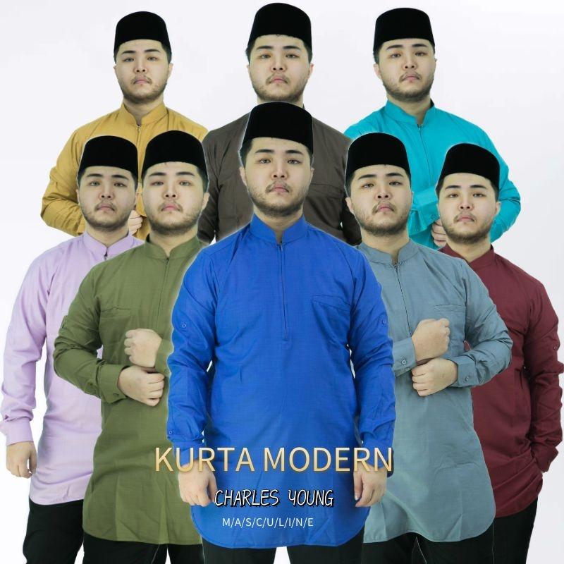 CY V1112 KURTA MODERN DEWASA BAJU MELAYU MUSLIM MUSLIMIN WEAR / ROYAL BLUE / OLIVE GREEN / STEEL GREY / DARK BROWN / KHAKIS / TURQUOISE / MAROON / LIGHT PURPLE