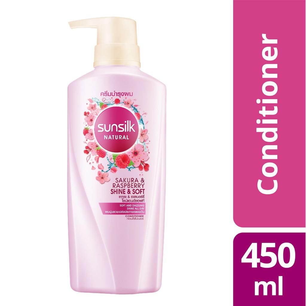 SUNSILK Natural Sakura & Raspberry Shine & Soft Conditioner (450ml)