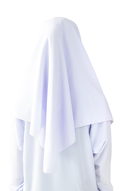 CY  122017 (PUTIH)  PAKAIAN TUDUNG HIJAB SEKOLAH KOSHIBO SCHOOL UNIFORM WHITE