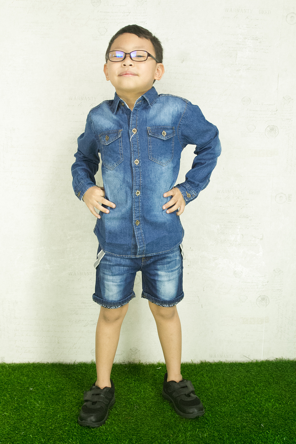 CY 72165 DENIM  VINTAGE JEANS  LONG SLEEVE KID SHIRT