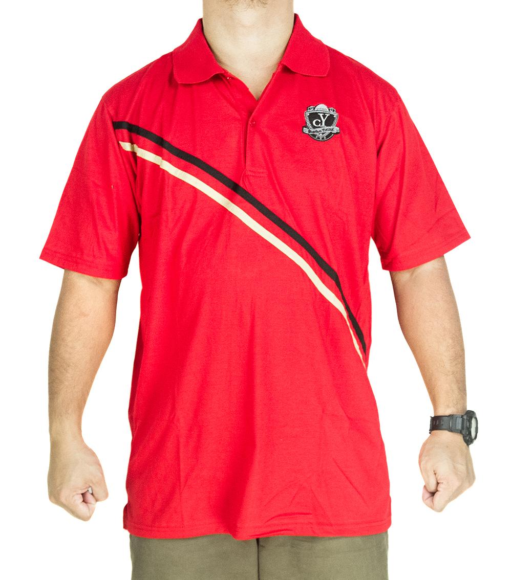 CY 3241 [ BLACK / RED ] MAN CASUAL POLO COLAR SHIRT BIG SIZE PLUS