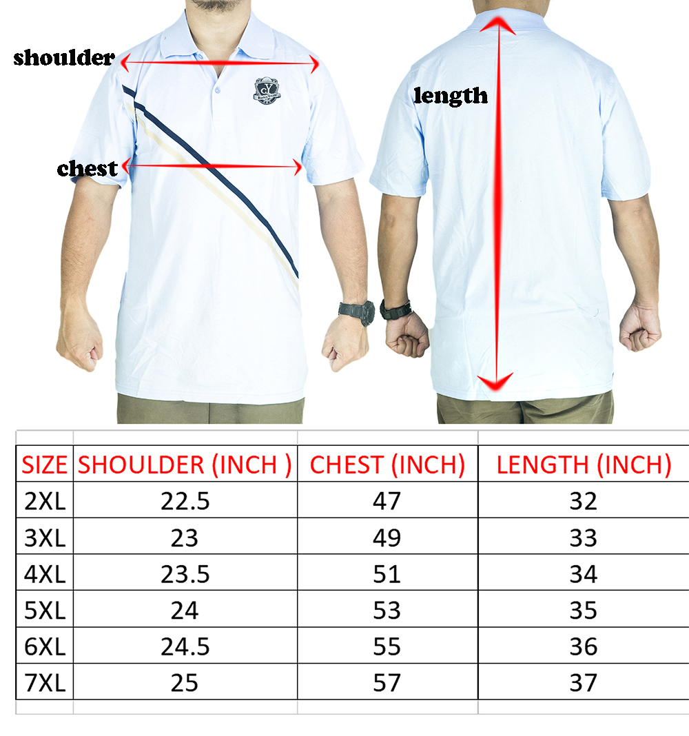 CY 3241 [ BLACK / RED ] MAN CASUAL POLO COLAR SHIRT BIG SIZE PLUS