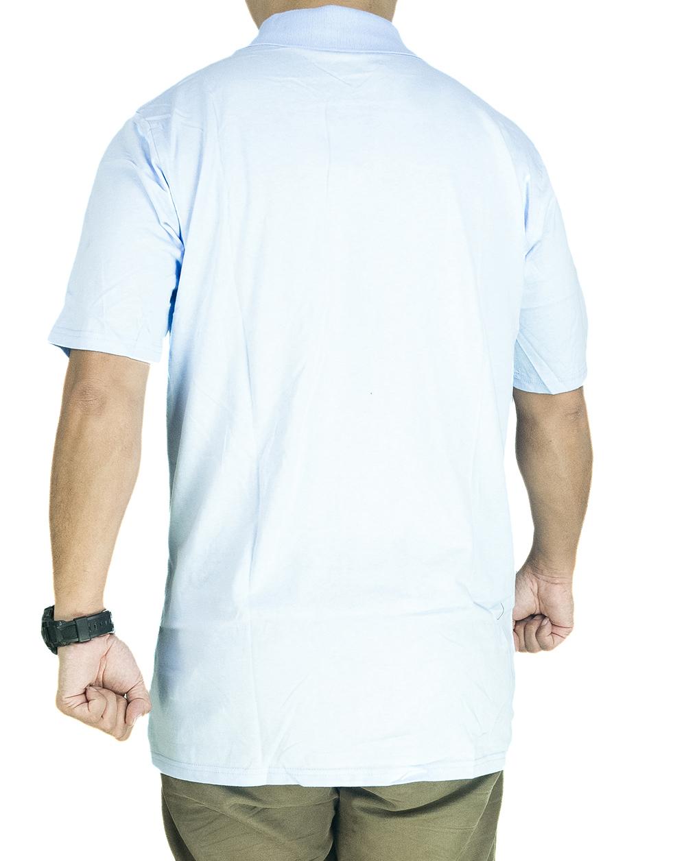 CY 3241 [ DARK BLUE / LIGHT BLUE ] MAN CASUAL POLO COLAR SHIRT BIG SIZE PLUS