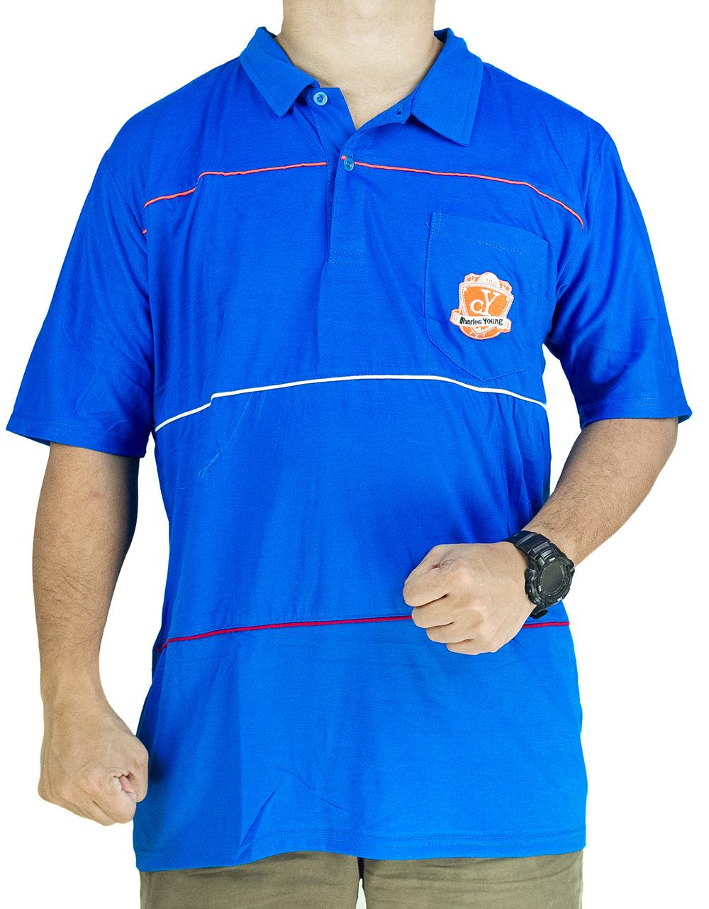 CY 64841 [ BLUE / RED ] MAN CASUAL POLO COLAR SHIRT BIG SIZE PLUS 5XL 6XL 7XL