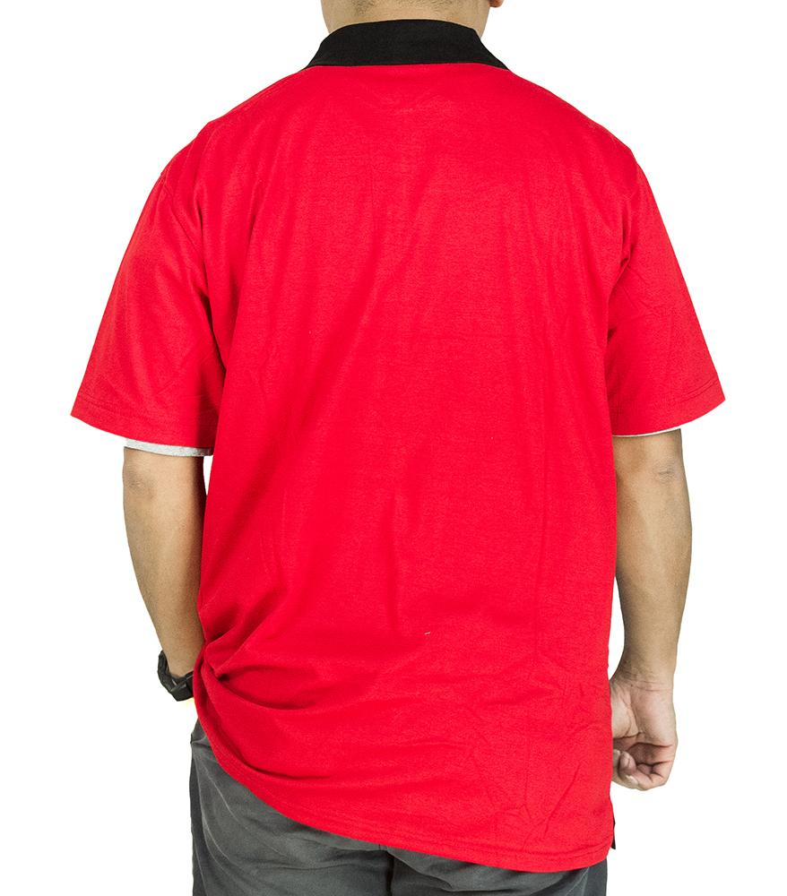 CY 3249B [ RED / DARK BLUE ] MAN CASUAL POLO COLAR SHIRT BIG SIZE PLUS 7XL